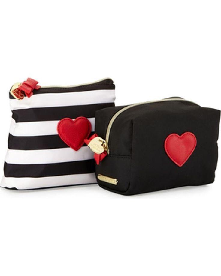 Betsey Johnson Away We Go Two Piece Cosmetic Bag Set Black White Stripe | eBay