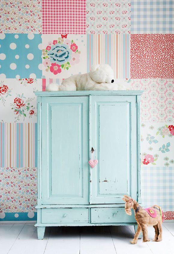 Patchwork behang voor een echte meidenkamer