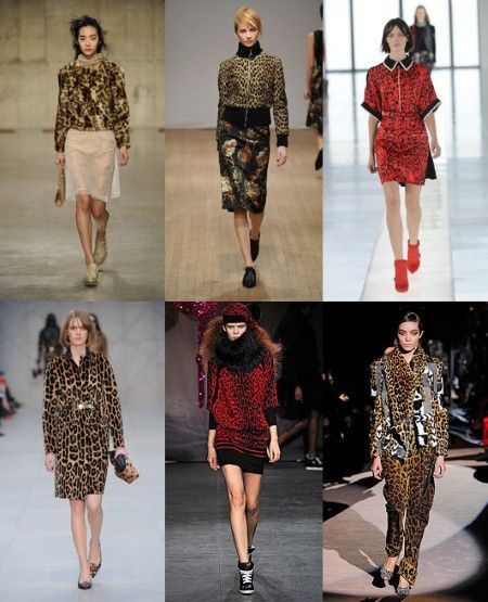 Leopard  Tom Ford had eclectic layers, Burberry broke up leopard with a gold belt while Preen and Sibling opted for red. Clockwise from top left: Simone Rocha, Clements Ribeiro, Preen by Thornton Bregazzi, Burberry, Sister by Sibling, Tom Ford.