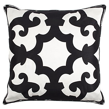 "GREAT graphic euro pillow - Bukhara Pillow 24"" - Black & White $69.95 used for client bedroom makeover"