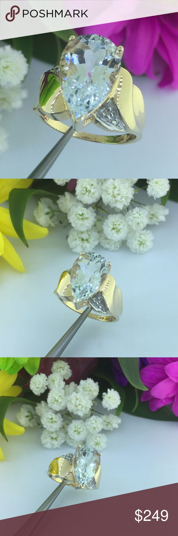 Pear Shape Large Aquamarine 14K Gold Ladies Ring Ladies 14K Yellow Gold With Large 3CT Pear Shape Aquamarine Stone Accented With Diamonds  Gemstones: Aquamarine  Mounting metal: 14K yellow gold  Ring Size: Size: 7  Center Stones: 3 CT  Total weight of piece:5.1g   Retail Price: $699 Jewelry Rings