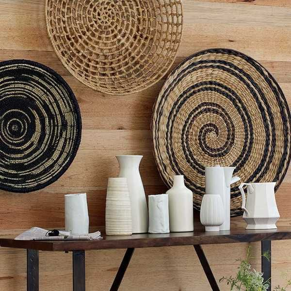 Wall Decoration With Large Wicker Plates Interiors