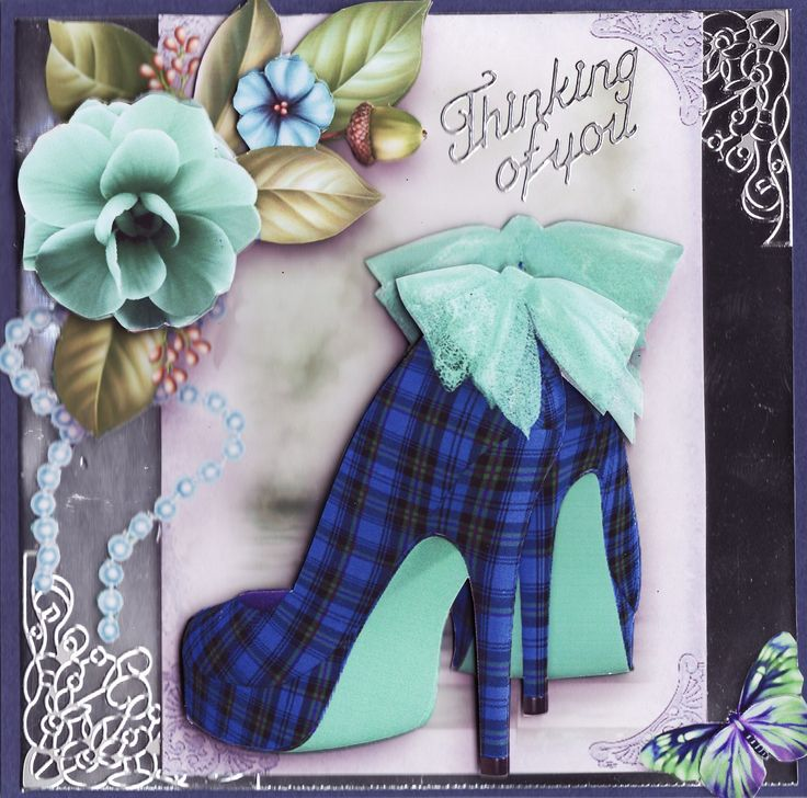3D tartan shoes 'thinking of you' Card (by Tassie Scrapangel)