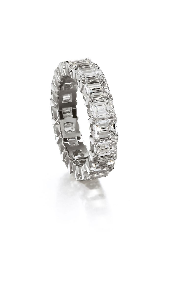 An Eternity Ring With Emerald Cut Diamonds