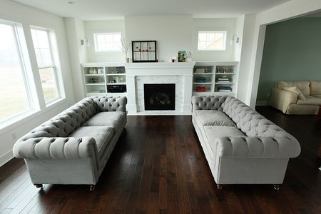 Would love to have built-in shelving units flanking the fireplace. Maybe topped with benches under the windows.
