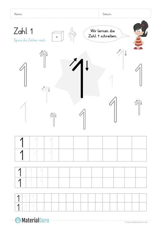 Ein kostenloses Mathe-Arbeitsblatt zum Schreiben lernen der Zahl 1 ...