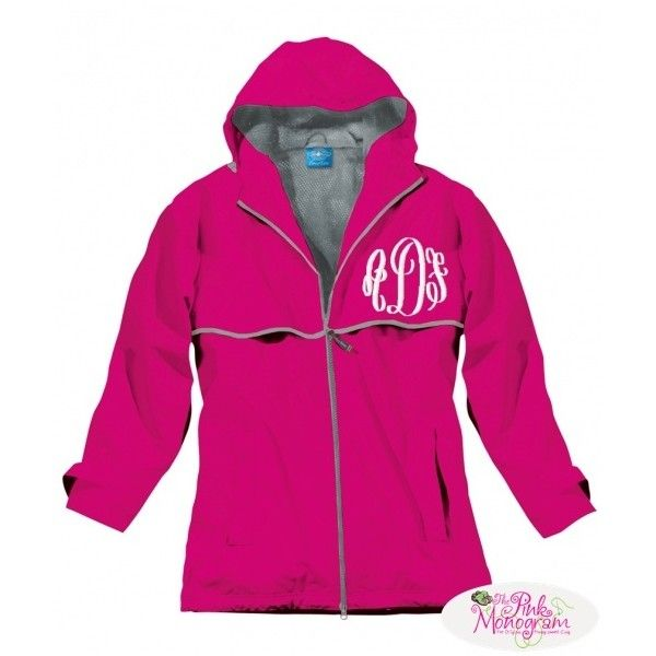 Monogrammed Rain Jacket New Colors And Back Instock ❤ liked on Polyvore featuring outerwear, jackets, pink jacket, monogrammed rain jacket, monogram jackets, rain jacket and pink rain jacket