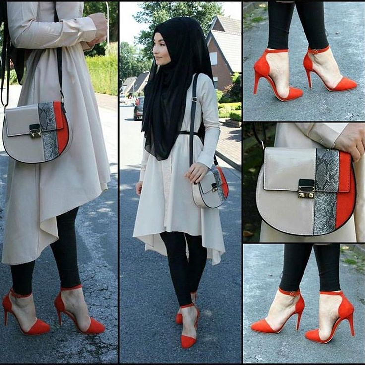 Love the high-low dress and sophisticately matched handbag. ❤❤#HijabiInHeels