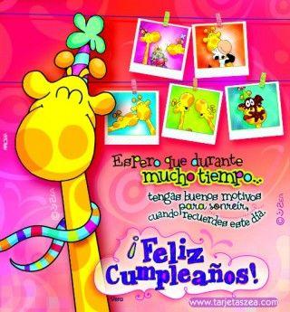 Jirafa Vera con fotos de recuerdos de cumpleaños © ZEA www.tarjetaszea.com