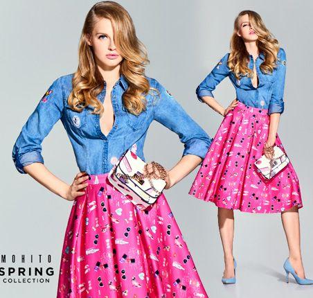 pink midi skirt Karolina Pisarek dla Mohito - walentynki 2016 wiosna lookbook ss2016 denim shirt