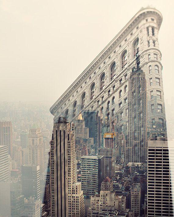 New York Skyline, NYC Photography, Flatiron, Empire State, Manhattan, Pastel, Pink, Beige - Midtown Daydreams