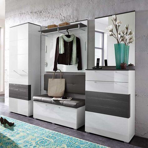 Dieses wunderschöne Garderobenset in Weiß Hochglanz & Grau setzt Ihren Eingansbereich gekonnt in Szene und bietet zudem noch jede Menge Stauraum. Überzeugen Sie sich selbst: http://www.pharao24.de/garderobenset-cibao-in-weiss-hochglanz-grau-5-teilig.html#pint