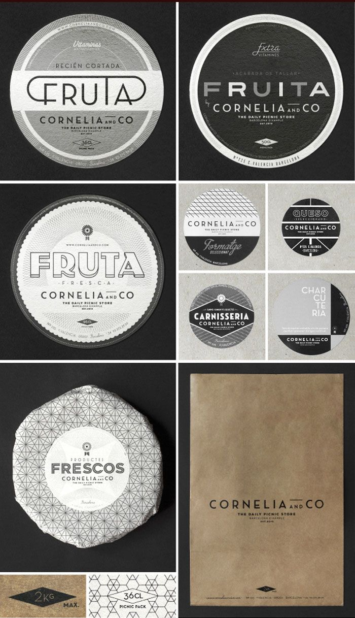 """Cornelia and Co., Barcelona. Design by Oriol Gil. Oriol Gil's Inspiration: """"...graphic design of the central europe between the 30' and 40' (called """"interwar years"""") all graphic materials are printed only in black ink and white serigraphy, over industrial raw papers and cardboards, honoring those years of poverty."""""""