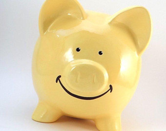 Smiley hucha - lindo personalizadas Piggy Bank - Banco de cara sonriente - feliz Piggy Bank - con agujero o sin agujero en la parte inferior - hecho en Estados Unidos