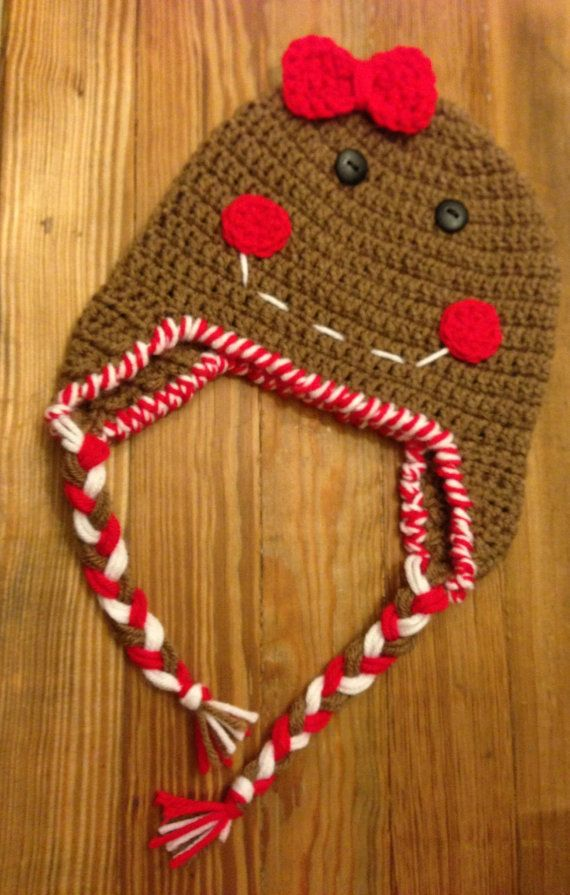 Newborn Gingerbread Girl Christmas Beanie by Props4Play on Etsy, $15.00