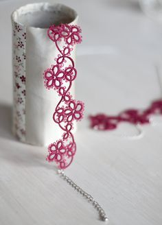 Tatted jewelry set: necklace and bracelet in dark raspberry with Tibetan silver finishings - gift for her, bridesmaid gift