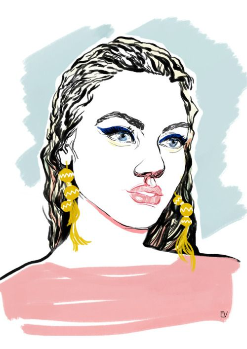 Earrings & makeup Fashion illustration; fashion sketch // Evgenia Raven