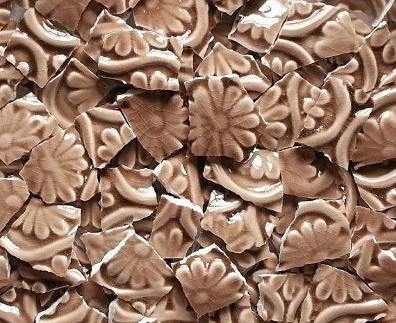 Mosaic TilesBrown Fleur de Lis 100 Tiles by suzeezmosaics63