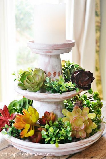 Such a pretty look ~ the whitewashed pot and the succulents offer such a nice contrast.