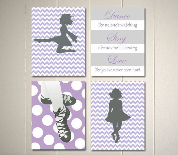 Nursery art, girls room art, irish folk dancer, irish dancer, dance like no one's watching, set of 4, 8x10 prints on Etsy, $39.00
