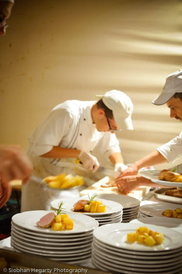 Chefs at work Castello di Modanella Tuscany wedding.