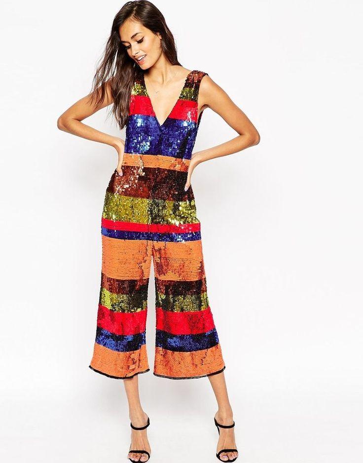 ASOS Over Sequin Stripe Embellished Plunge Jumpsuit UK 8 - US 4 rrp £120
