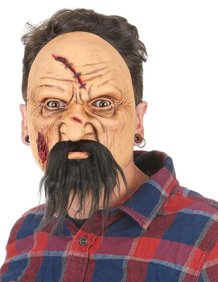 Masque latex viellard blessé adulte : Ce demi-masque pour adulte est en latex et affiche le visage d'un vieillard à la peau ridée et blessée.Les balafres sont en reliefs et peintes avec beaucoup de...