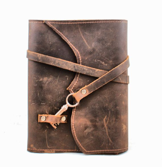 Distressed Brown Leather Book Cover  Leather by DivinaDenuevo, $70.00