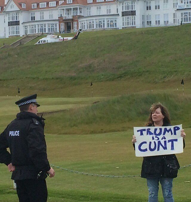 Janey Godley welcomes Donald Trump to Scotland. (2016)