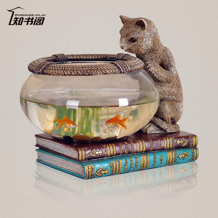Cheap Corte avvisi acquario cat style creative home decoration boccia del pesce rosso serbatoio tartaruga acquario pesci da acquario ornamenti, Compro Qualità Acquari e serbatoi direttamente da fornitori della Cina: