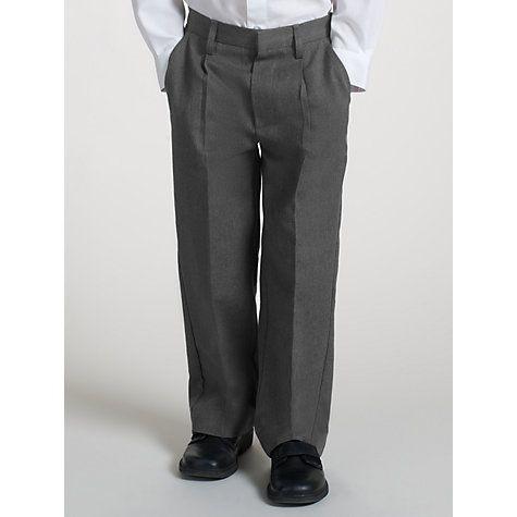 Buy John Lewis Boys' Pure Cotton Adjustable Waist Straight Leg School Trousers, Black Online at johnlewis.com