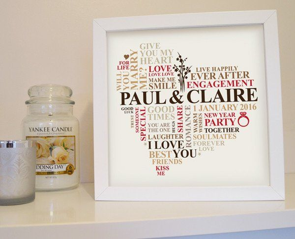 Engagement art. Personalised gift in frame.   They're engaged! This could be the favourite engagement gift they receive - personalised with the special proposal date, location and their names. Capture the memory for years to come in this personalized engagement gift.  The engagement design will be Finished off in a sealed frame.   The perfect luxury engagement gift idea.  Unique engagement present.
