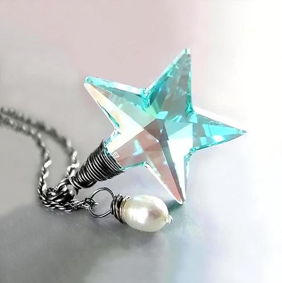 14 best star jewelry images on pinterest star jewelry star aquamarine crystal star necklace rare vintage swarovski necklace sterling silver seafoam crystal necklace wire wrap pendant necklace aloadofball Gallery