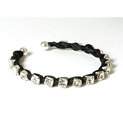 The Olivia Collection Black Rhinestone and Ribbon Cuff Bangle Bracelet . $19.95. Save 23% Off!