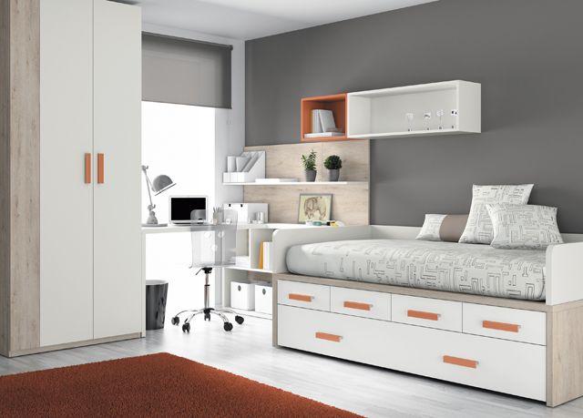 Kids touch 27 dormitorio juvenil juvenil camas compactas y - Camas con escritorio ...