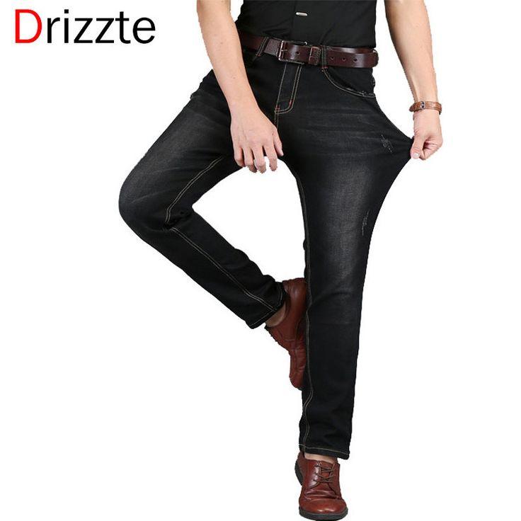 Drizzte Men Jean Blue Black Denim Stretch Jeans Pants Distressed Pockets Jeans Big Large Sizes Trousers