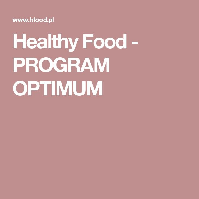 Healthy Food - PROGRAM OPTIMUM
