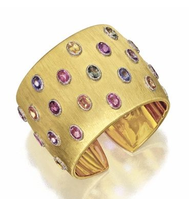 18K Gold and Multi-colored Sapphire Bangle Bracelet - Buccellati