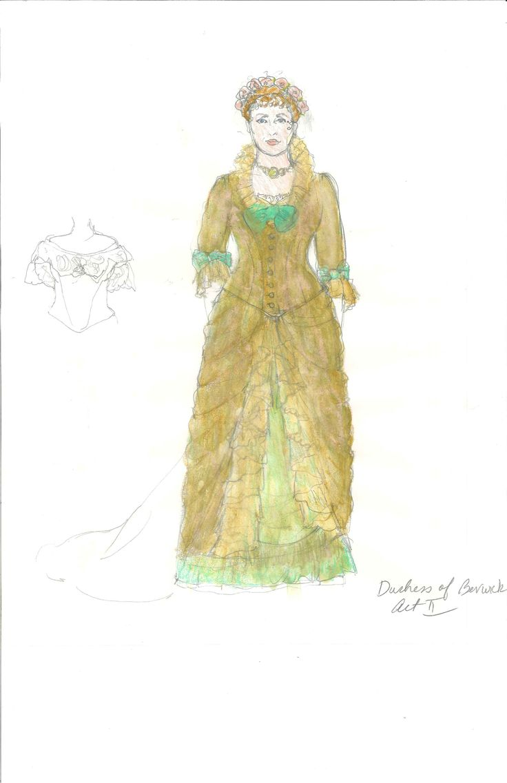 Meg Neville's costume sketch of the Dutchess of Berwick, Act 2