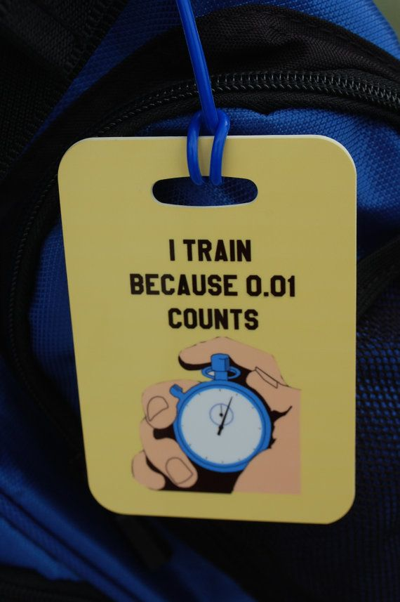 I Train because 0.01 Counts Swim Bag Tag Sport Bag by FlipTurnTags, $5.95