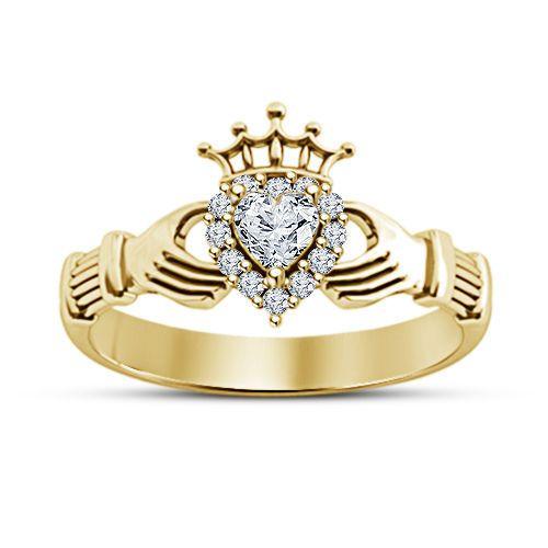 Simulated Diamond Heart Shape Claddagh Ring in 14k Yellow Gold Finish 925 Silver #Bacio2jewel #CladdaghRing #WeddinganniversaryGift
