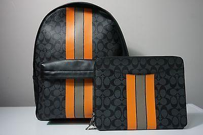 Coach Men's Charles Varsity Signature Charcoal/Orange Backpack & Tech Case Set
