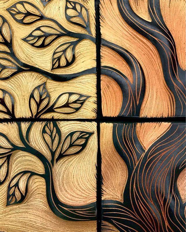 An Autumn Tree In Detail Part Of A Larger Backsplash Ceramic Tile Art Ceramic Wall Art Ceramics Ideas Art