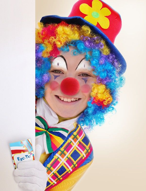Little boy used free clown photo editor to turn himself into a funny clown for the April Fool's day