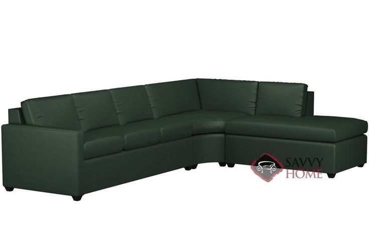 Terra Leather Chaise Sectional with 3-Cushion Queen Earth ...