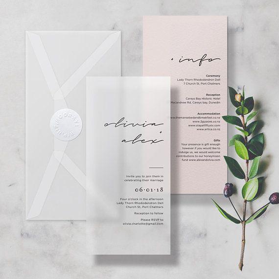 AMOSTRA Velino Translúcido + Convite Mínimo de Casamento Nude, inclui cartão de informação, velino ou envelope e adesivo de papel (AMOSTRA NÃO PERSONALIZADA)   – air