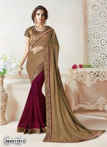 Fantastic Beige Colored Shimmer Party Wear Saree
