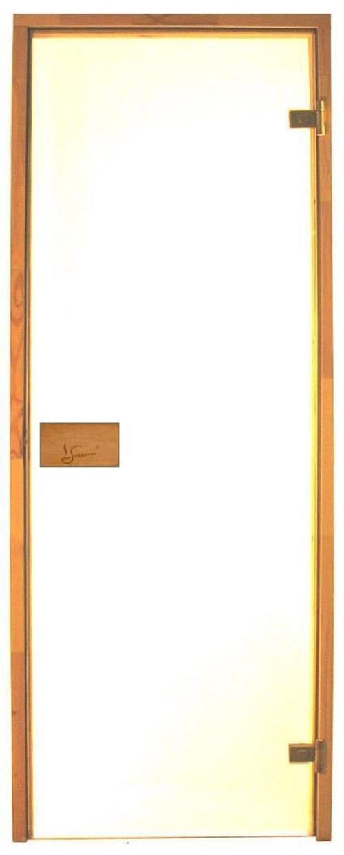 Bastudörr 8x19 Classic med klart glas och furukarm