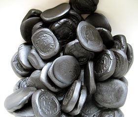 Pontefract cakes (also known as Pomfret cakes and Pomfrey cakes) are a type of small, roughly circular black sweet measuring approximately 2 cm in diameter and 4 mm thick, made of liquorice, originally manufactured in the Yorkshire town of Pontefract, England.