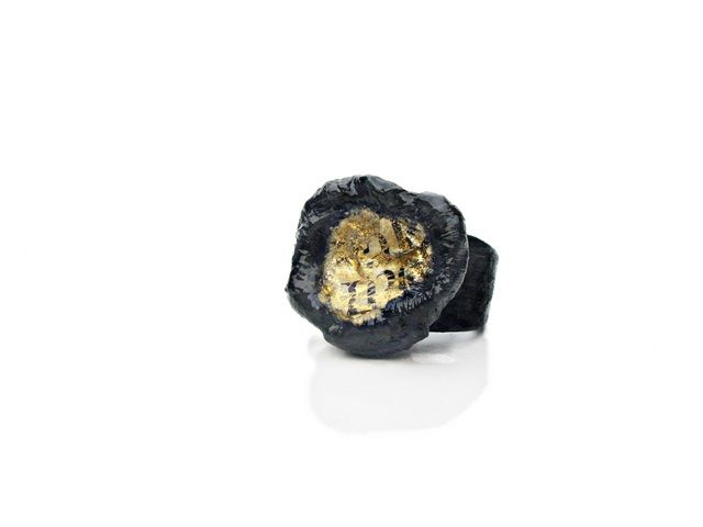 black and words gold - ring